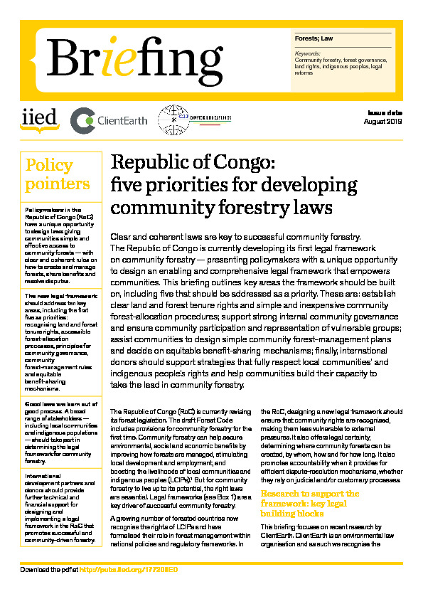 Republic of Congo: five priorities for developing community forestry laws