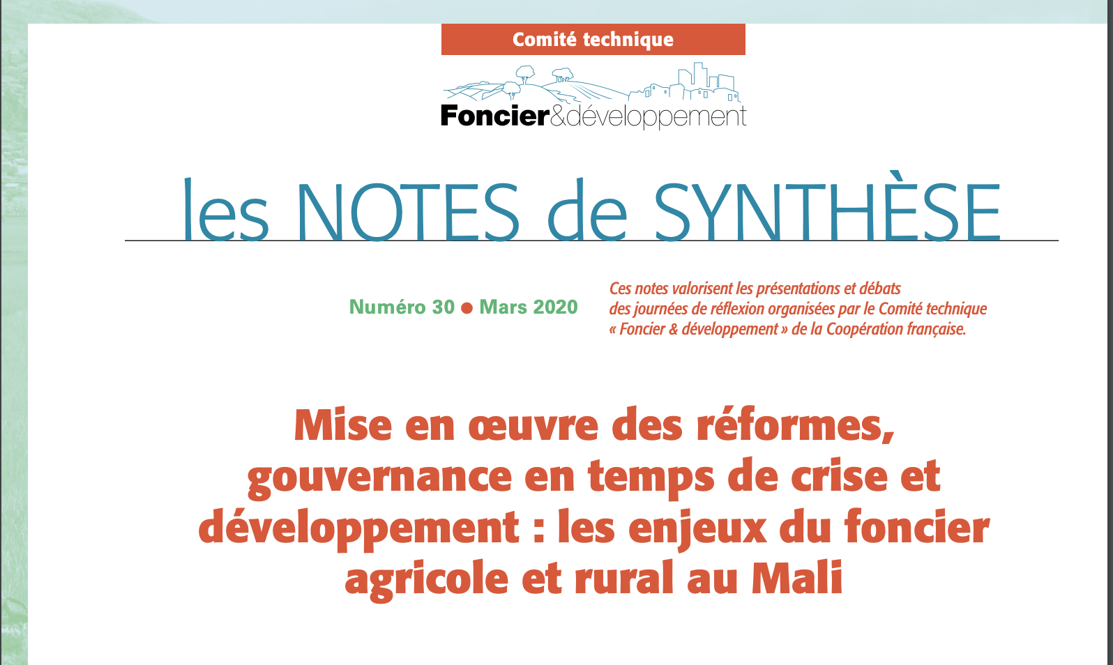 Note de synthese