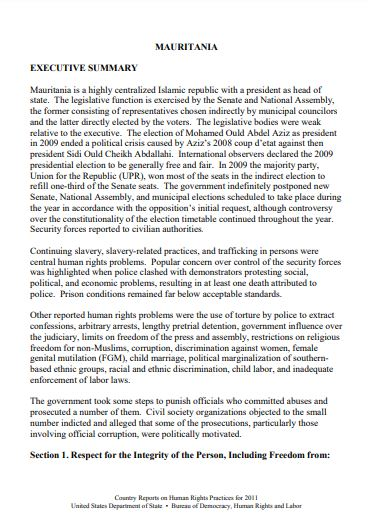 Country Reports on Human Rights Practices