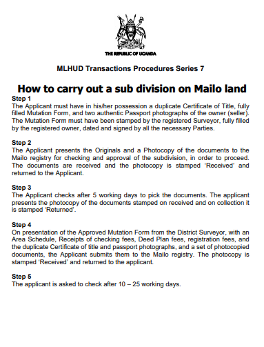 How to carry out a sub division on Mailo land