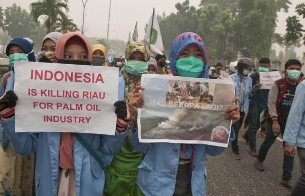 Indonesian students holds posters as they protest against the palm oil industry in Pekanbaru, Riau province, Indonesia, Oct. 23, 2015 in this picture taken by Antara Foto. REUTERS/FB Anggoro/Antara