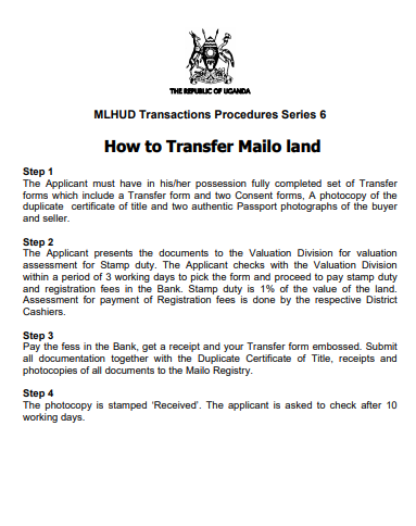 How to Transfer Mailo land