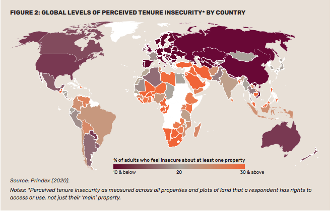 Prindex - Global Property Rights Index - 2019/2020 - FIGURE 2: GLOBAL LEVELS OF PERCEIVED TENURE INSECURITY BY COUNTRY