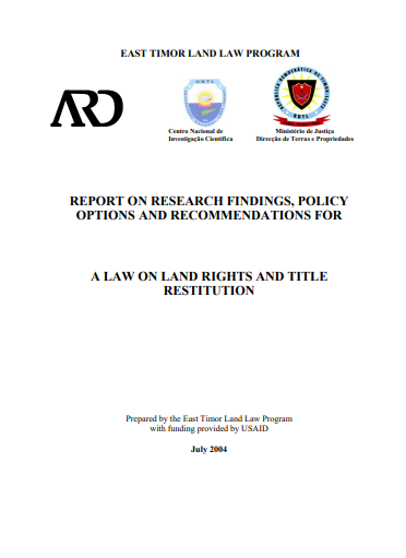 REPORT ON RESEARCH FINDINGS, POLICY OPTIONS AND RECOMMENDATIONS FOR A LAW ON LAND RIGHTS AND TITLE RESTITUTION