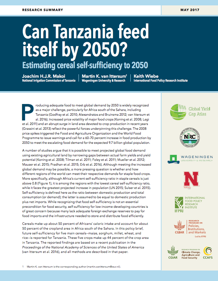 Can Tanzania feed itself by 2050?: Estimating cereal self-sufficiency to 2050 cover image