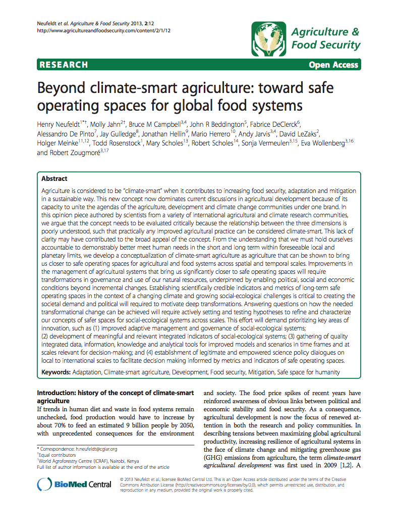 Beyond climate-smart agriculture: toward safe operating spaces for global food systems cover image