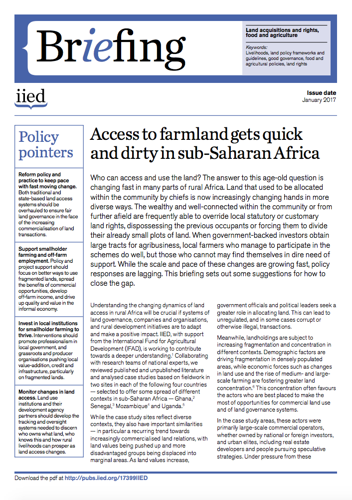 Access to farmland gets quick and dirty in sub-Saharan Africa cover image