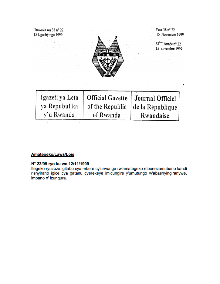Law N° 22/99 of 12/11/1999 to Supplement Book I of the Civil Code and to Institute Part Five Regarding Matrimonial Regimes, Liberalities and Successions. cover image