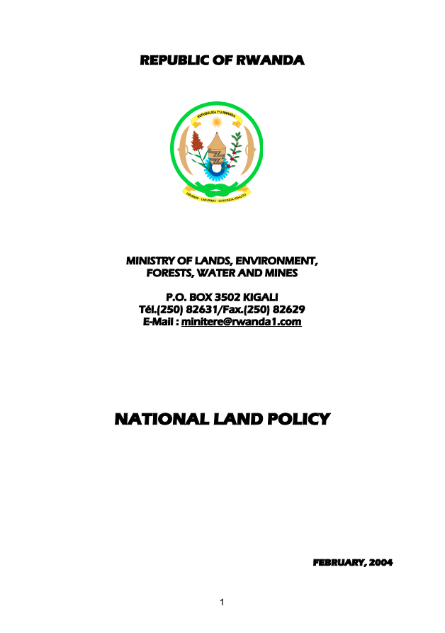 National Land Policy, Rwanda. cover image