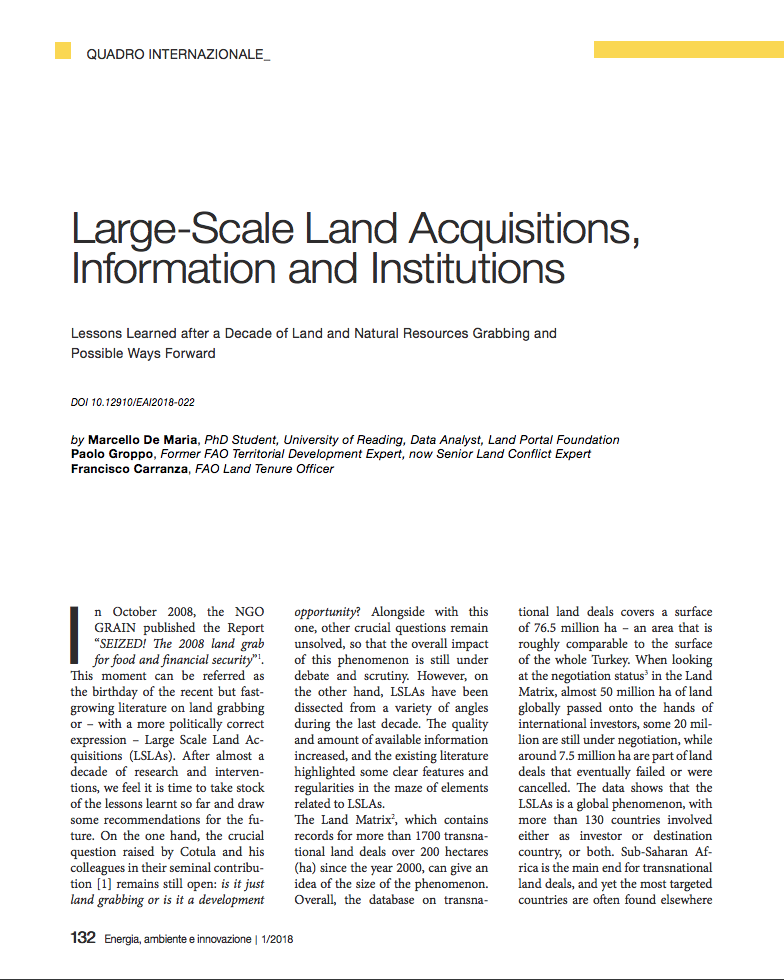 Large-Scale Land Acquisitions, Information and Institutions cover image