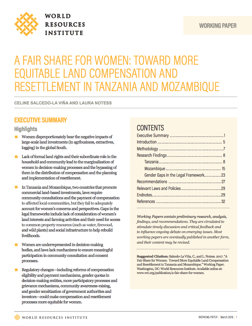 A Fair Share for Women: Toward More Equitable Land Compensation and Resettlement in Tanzania and Mozambique cover image