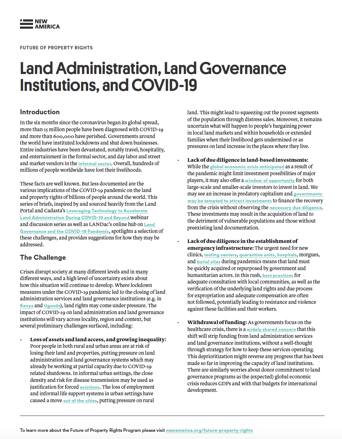 Land Administration, Land Governance Institutions, and COVID-19