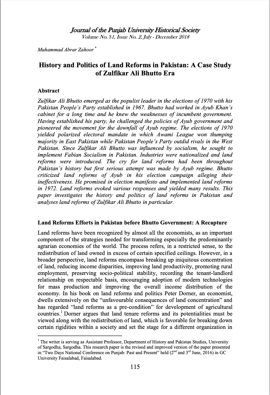 History and Politics of Land Reforms in Pakistan: A Case Study of Zulfikar Ali Bhutto Era