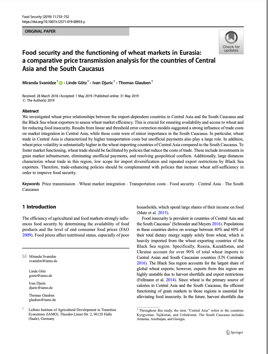 Food security and the functioning of wheat markets in Eurasia
