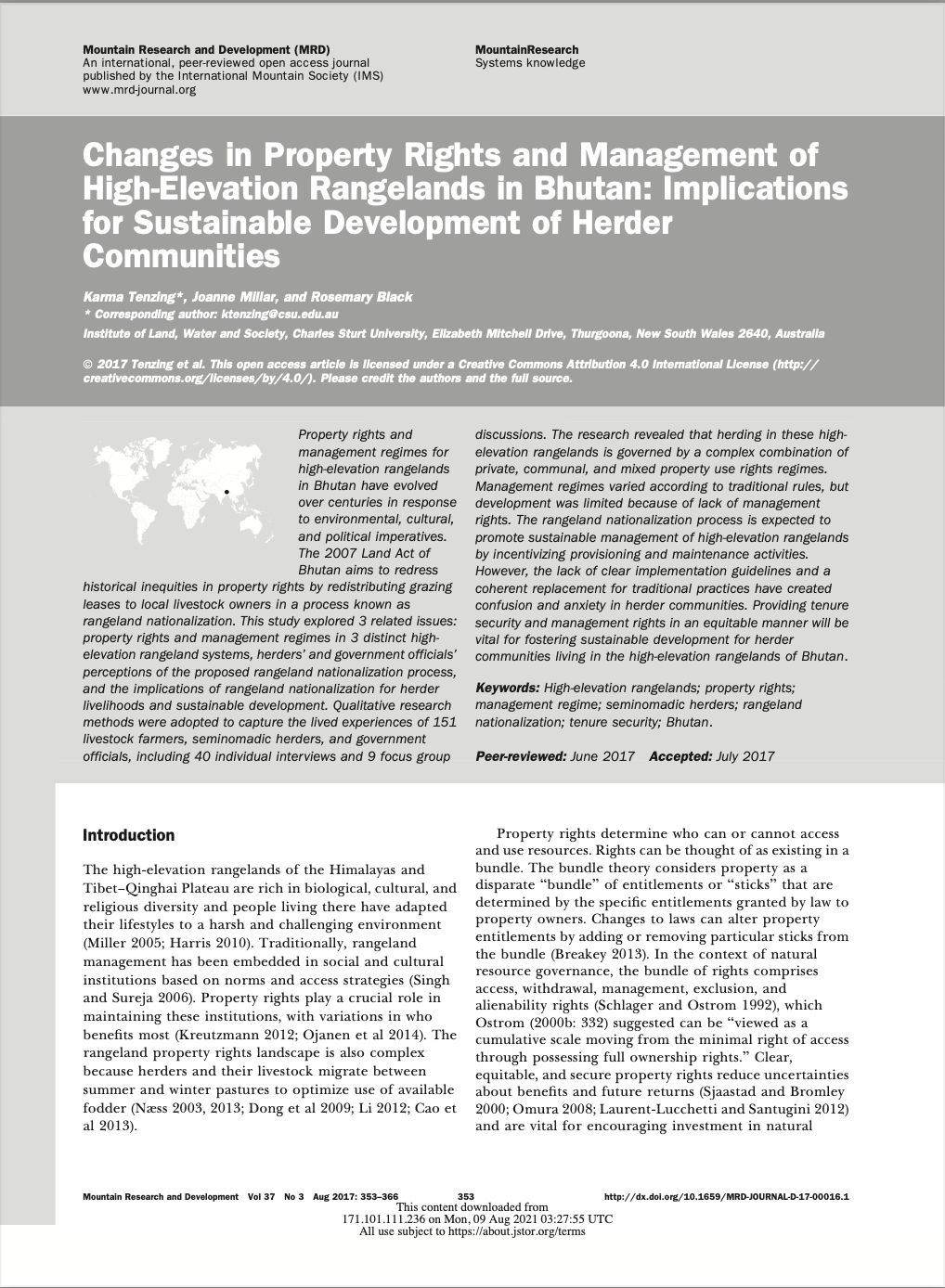 Changes in Property Rights and Management of High-Elevation Rangelands in Bhutan: Implications for S