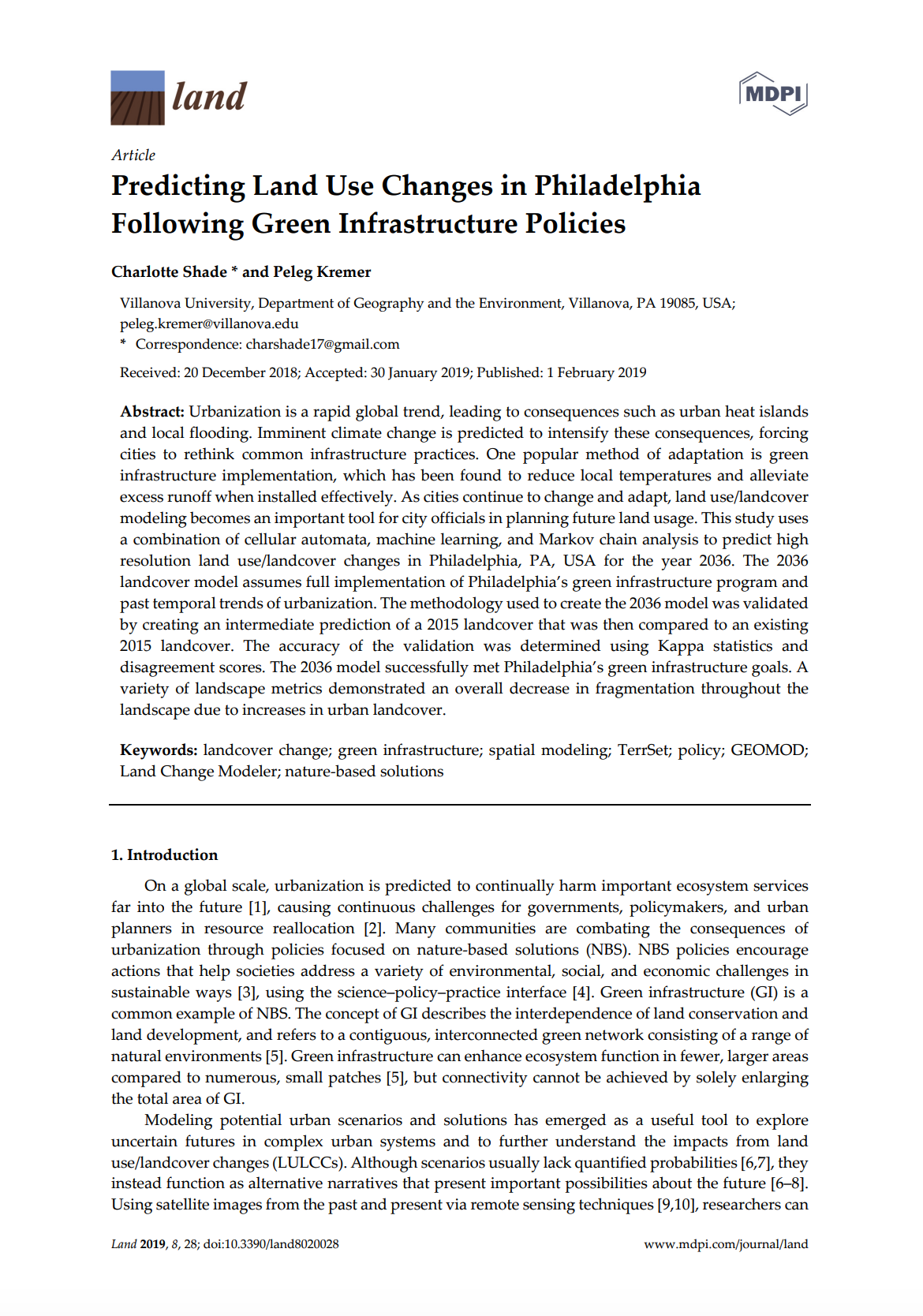 Predicting Land Use Changes in Philadelphia Following Green Infrastructure Policies cover image