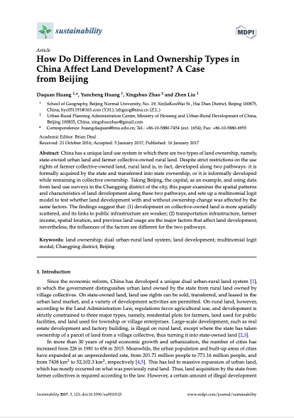 How Do Differences in Land Ownership Types in China Affect Land Development? A Case from Beijing