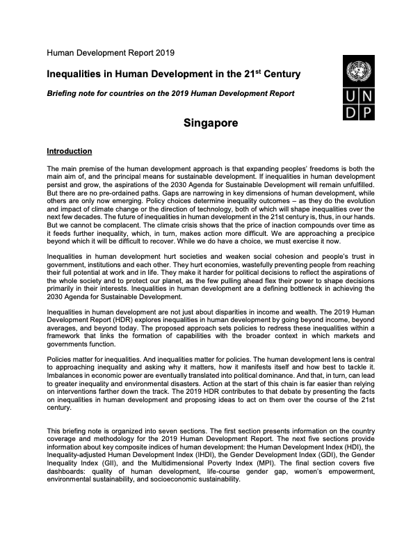 Human Development Report 2019 Singapore