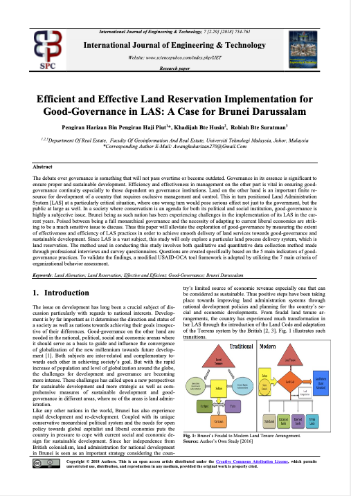 Efficient and Effective Land Reservation Implementation for Good-Governance in LAS