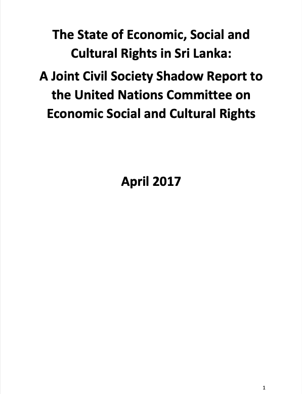 The State of Economic, Social and Cultural Rights in Sri Lanka