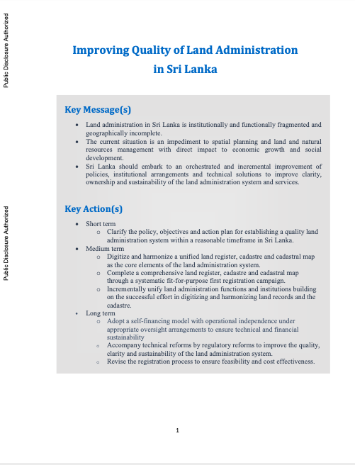 Improving Quality of Land Administration in Sri Lanka