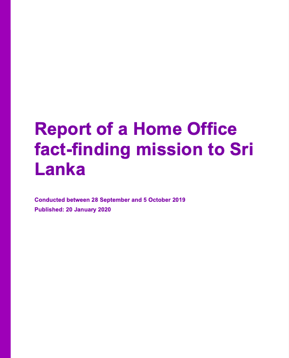 Report of a Home Office fact-finding mission to Sri Lanka