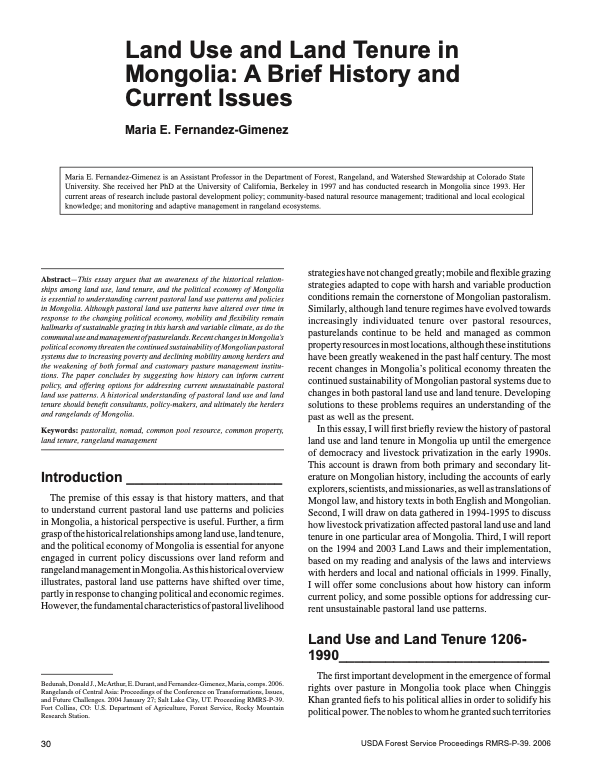 Land Use and Land Tenure in Mongolia: A Brief History and Current Issues