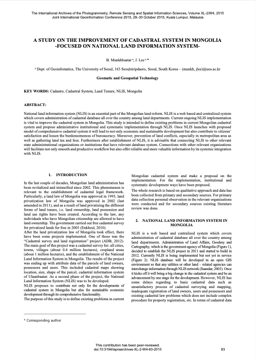 A Study on the Improvement of Cadastral System in Mongolia