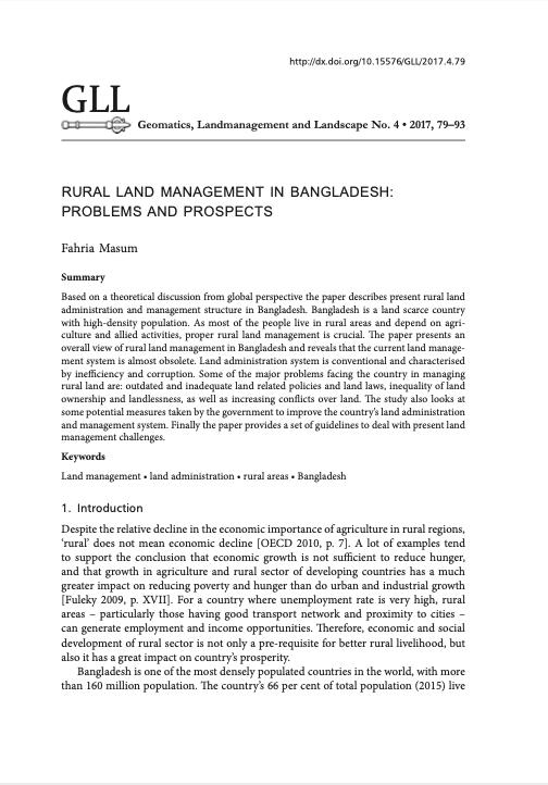 Rural Land Management in Bangladesh