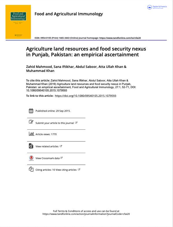 Agriculture land resources and food security nexus in Punjab, Pakistan: an empirical ascertainment