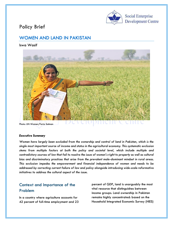 Women and Land in Pakistan