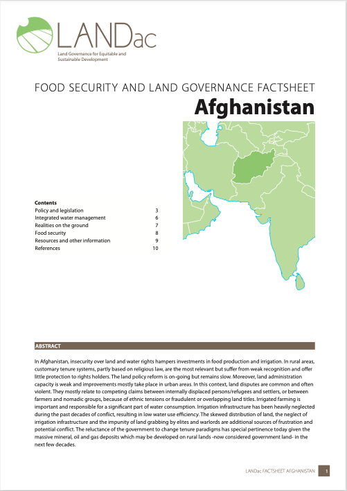 Food Security and Governance Factsheet: Afghanistan