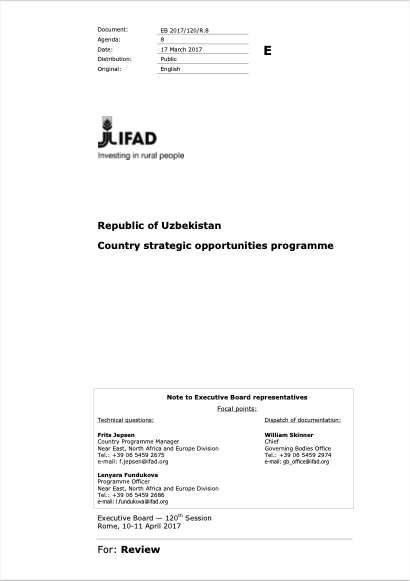 Republic of Uzbekistan: Country strategic opportunities programme