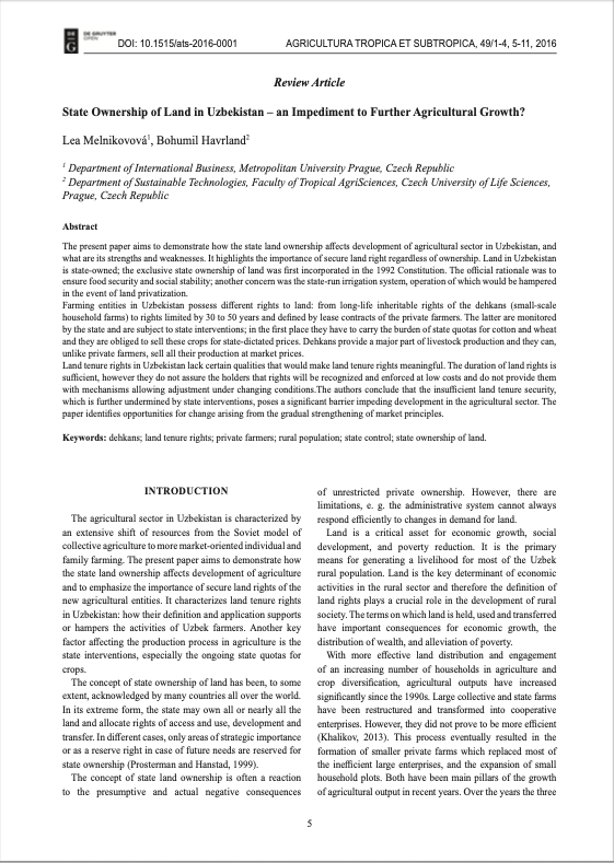 State Ownership of Land in Uzbekistan – an Impediment to Further Agricultural growth?