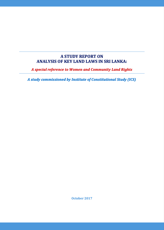 A Study Report on Analysis of Key Land Laws in Sri Lanka
