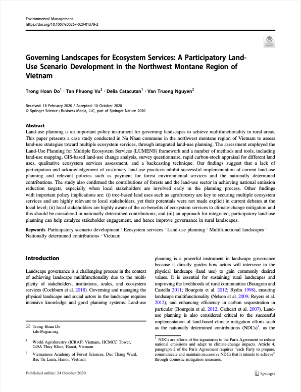 Governing Landscapes for Ecosystem Services: A Participatory Land- Use Scenario Development in the N