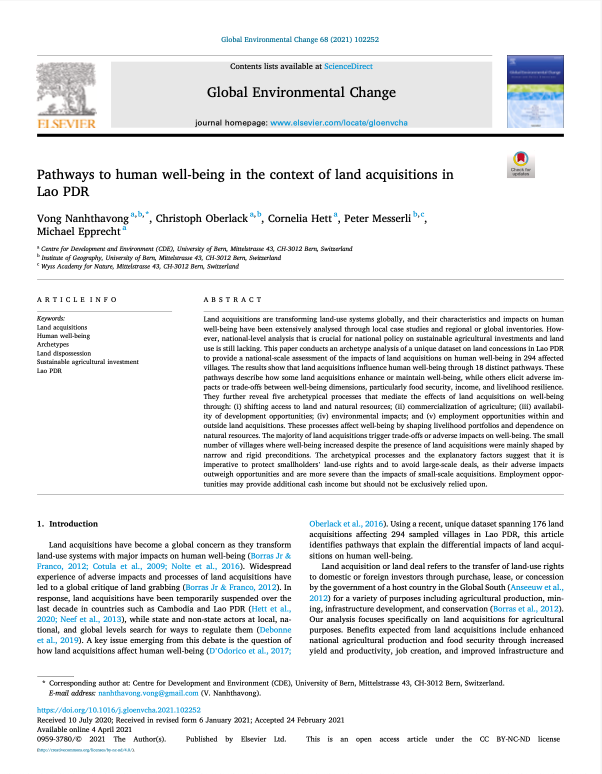 Pathways to human well-being in the context of land acquisitions in Lao PDR