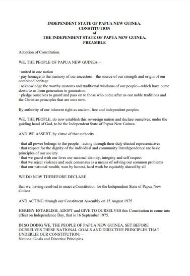 PNG constitution of independent state
