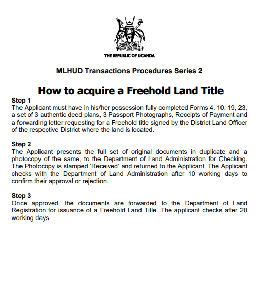 How to acquire a Freehold Land Title