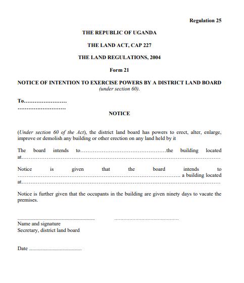 THE LAND REGULATIONS, 2004 Form 21