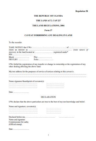 THE LAND REGULATIONS, 2004 Form 37