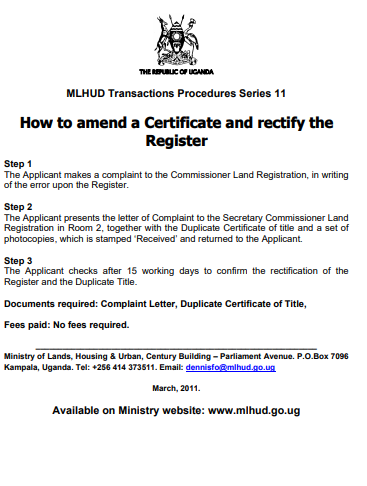 How to amend a Certificate and rectify the Register