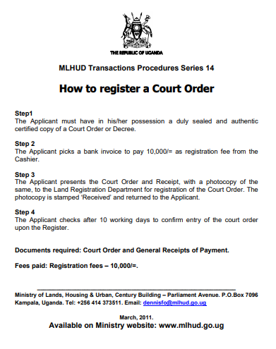 How to register a Court Order