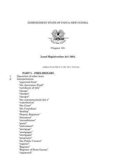PNG land registration act