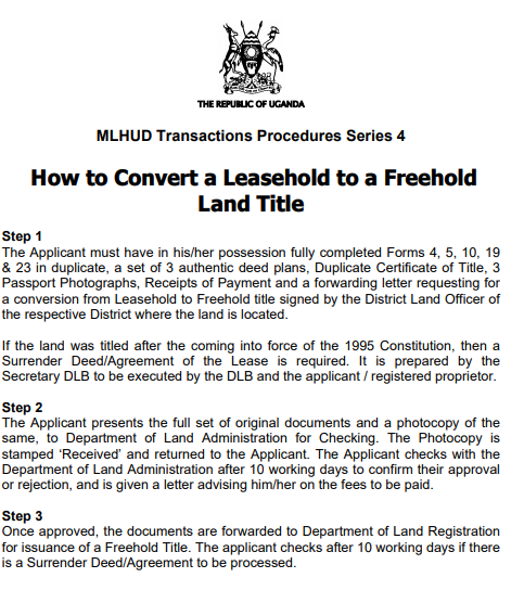 How to Convert a Leasehold to a Freehold Land Title