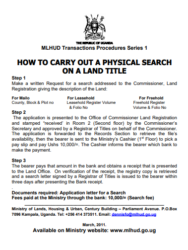 HOW TO CARRY OUT A PHYSICAL SEARCH ON A LAND TITLE