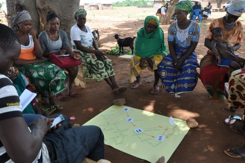 A women session of information flow map in Teanoba Ghana. Photo by: Taylor Spicer (CCAFS).