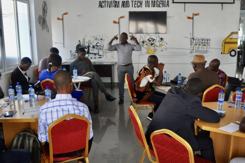 Young social entrepreneurs present their proposals for tackling land corruption in Africa