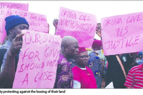 Ajaji Community protesting against the leasing of their land