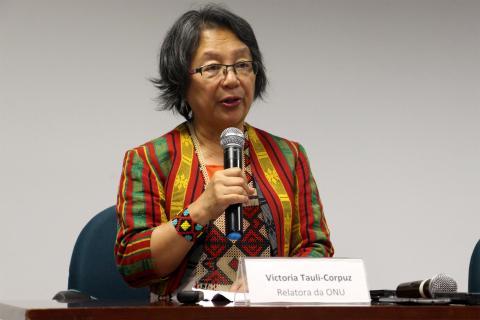 A relatora especial da ONU sobre Direitos dos Povos Indígenas, Victoria Tauli-Corpuz, visitou o Brasil em março. Foto: Tiago Miotto/Cimi